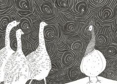 Line drawing GEESE and PEACOCK // black and white original sketch by Elisaveta Sivas // 5,9 x 8,3' (14,9 x 21 cm)