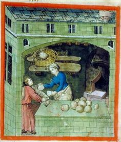 A Feast For The Eyes A bakery; from Tacuinum Sanitatis, c. Medieval Life, Medieval Art, Medieval Manuscript, Illuminated Manuscript, Renaissance, Dragon Glass, Medieval Recipes, Early Middle Ages, Book Of Hours