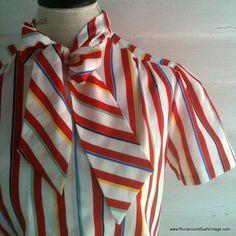 Vintage Blouse  1970s Nautical Striped by runaroundsuevintage, $24.00