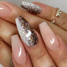 Nude coffin nails with ombré glitter feature.  by thenailbarsydney http://ift.tt/1NRMbNv