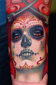 Realistic Sugar Skull Tattoo