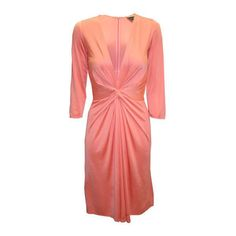 Ladies Issa Salmon Pink V Neck Silk Jersey Dress ($495) ❤ liked on Polyvore