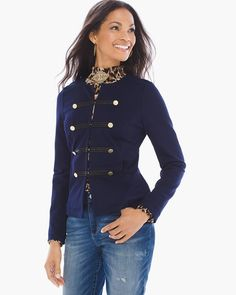 """A tailored open-front jacket has the instant outfit polish to shape-up and ship-out (in immaculate style, of course.) Rows of brass-tone buttons are enhanced with sleek tonal bands and contrast stitching.   Long sleeves.  Regular length: 22"""".  Petite length: 21.5"""".  Rayon, nylon and spandex.  Machine wash. Imported."""