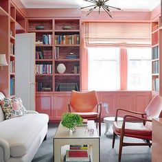 Ready to park myself in this stunning study and never come out, . Yes, please! We'll take all the beautiful built-ins painted a glossy shade of pink  for 500, Alex. Via @housebeautiful #homelove