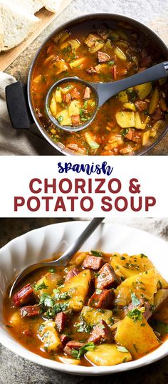 Spanish Potato and Chorizo Soup - Just a Little Bit of Bacon - Spicy, creamy, and full of flavor! My Spanish potato and chorizo soup is simple to prepare and makes a satisfying and healthy dinner. Perfect for nights when you want dinner without any fuss. Spanish Soup, Spanish Meals, Spanish Dinner, Chorizo And Potato, Potato Soup, Spanish Potatoes, Cooking Recipes, Healthy Recipes, Healthy Food