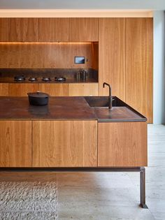cherry timber cabinetry /Caroline Place by Amin Taha Architects + GROUPWORK Home Decor Kitchen, Interior Design Kitchen, Kitchen Dining, Kitchen Wood, Timber Panelling, Cocinas Kitchen, Minimalist Interior, Interiores Design, Interior Architecture