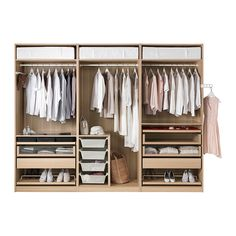PAX Wardrobe, white stained oak effect, Tanem white white stained oak effect Tanem white standard hinges - 300x60x236 cm