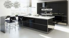 muebles de cocina negros con acabado brillante
