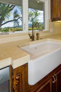 Shaws Farmhouse Sink in Kitchen closeup 3252 Highway 128 Calistoga #calistogaluxuryvineyardhome