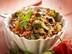 Mediterranean quinoa salad Quinoa, kalamata olives, tomoatoes, cucumbers, red pepper, feta cheese, olive oil, pepper, sea salt, dried oregano, fresh lemon juice