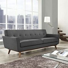 Mid-Century Modern Upholstered Fabric Living Room Sofa Couch in Gray Sofa Upholstery, Upholstered Sofa, Fabric Sofa, Linen Fabric, Sofa Couch, Couches, Sofa Set, Chesterfield Sofa, Sectional Sofas