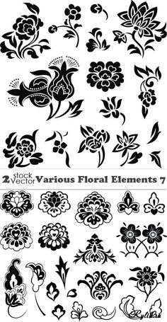 Various Floral Elements - Stencils Stencil Templates, Stencil Patterns, Stencil Art, Stencil Designs, Silhouette Projects, Pyrography, Line Drawing, Paper Cutting, Line Art