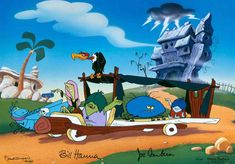 """When the Flintstones finally got new neighbors in """"that creepy old Tombstone Manor"""" next door, little did they realize that it would be the Gruesomes! This hand-painted limited edition cel features Weirdly, Creepella, and Gobby Gruesome, Schneider the Spider, a giant grasshopper and a vulture. """"Meet The Gruesomes"""" Signed by William Hanna and Joe Barbera. #Gruesomes #Flintstones"""