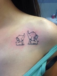 Mom tattoo / baby elephant / elephants tattoo / small elephant tattoo