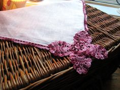 Vintage Handkerchief with Crochet Edging and by EntirelyApropos