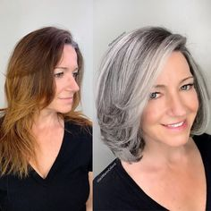 This beautiful client came to me from new hampshire with hair that had multi different light and dark brassy colors, she was seeking gray… Mom Hairstyles, Hairstyles Over 50, Curly Haircuts, Medium Hairstyles, Braided Hairstyles, Wedding Hairstyles, Grey Hair Over 50, Silver Hair Highlights, Grey Hair Transformation