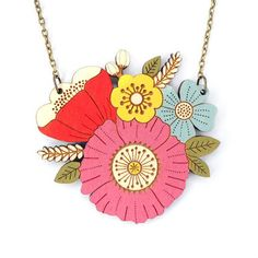 Inspired by wild summer flowers. This pretty, floral necklace is intricately laser cut in birch wood ply, delicately hand painted and then finished with a coat of varnish, all from my studio on the Suffolk Coast. Handmade Gifts, Handmade Jewelry, Floral Necklace, Bird Necklace, Gold Style, Summer Flowers, Fake Flowers, Cool Gifts, Laser Cutting