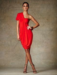 Knit One Shoulder Twist Dress by Donna Karan