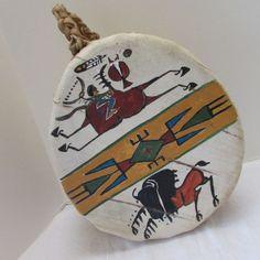 Native American Lakota Buffalo Hide 2 Sided Drum Painted Signed Sonja Holy Eagle