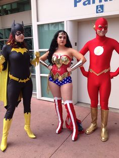 Batgirl, Wonder Woman, and Flash cosplay