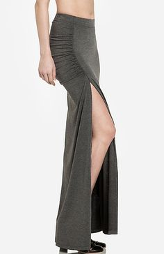 Ruched side slit maxi skirt moss