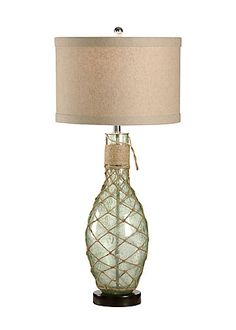 WRAPPED BOTTLE LAMP - perfect for a beach themed room.