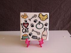 Ceramic LOVE MY CAT Home Decor Table Coaster by crazydaisy12, $7.00