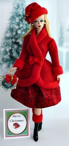 Vintage Barbie Clothes, Doll Clothes Barbie, Barbie Dress, Christmas Barbie, Christmas Fashion, Manequin, Beautiful Barbie Dolls, Pretty Dolls, Barbie Collector