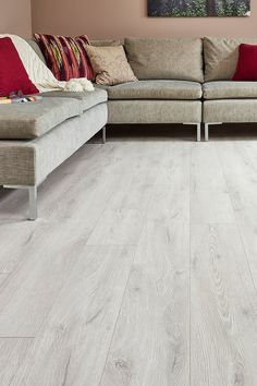 inexpensive flooring Tough and easy to care for, Series Woods Laminate Flooring Toscana Oak has a lovely pale grey tone and a subtle and refined grain pattern that harmonise beautifully with minimalist and modern schemes. Grey Laminate Flooring, Engineered Hardwood Flooring, Plank Flooring, Vinyl Flooring, Hardwood Floors, Bathroom Flooring, Light Grey Wood Floors, Inexpensive Flooring, Floor Colors