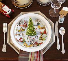 Winter Village Salad Plate, Mixed Set of 4 #potterybarn