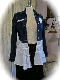 Shabby Denim Jacket, boho tattered chic white cotton, upcycled altered couture clothing, eco friendly MEDIUM