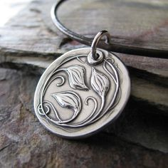 Personalized Silver Jewelry, Everlasting, Artisan Fine Silver Metal Clay Pendant, Vines and Leaves. $62.00, via Etsy.