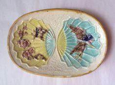 Antique Wardle Majolica Bird & Fan Tray c.1870's, em68 #AestheticMovement #Wardle