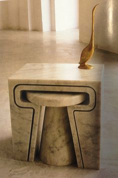 Gorgeous Marble Nesting Table Design By Jim Hannon-Tan With Perfect Square Shape - Use J/K to navigate to previous and next images
