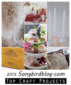 I'm fond of easy, simple and doable craft projects. Why make things hard when it can be fun and fabulous the easy way! Here are my fav craft projects from 2013. http://www.songbirdblog.com