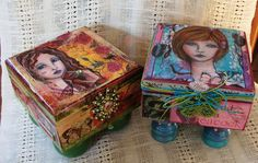 more mixed media boxes with images of my art