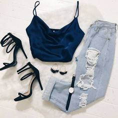 silk tank top with ripped jeans and black strappy heels. Visit Daily Dress Me at for more inspiration women's fashion summer fashion, night tufts, girls night outfits, date night outfits Trend Fashion, Teen Fashion Outfits, Mode Outfits, Fashion 2018, Look Fashion, Fashion Models, Outfits Date, Fashion Night, Jeans Fashion