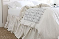 Gathered Bed Skirt made from a drop cloth or any fabric of choice. Time saving gathering technique included in tutorial. - by TIDBITS Drop Cloth Curtains, White Curtains, Diy Curtains, Bed Valance, Roman Curtains, Layered Curtains, Purple Curtains, Elegant Curtains, Cheap Curtains