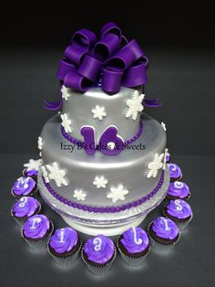 Purple and Silver Winter Sweet 16 Cakes