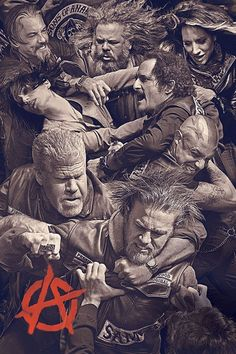 "SONS OF ANARCHY FIGHT SCENE POSTER SUPERIOR SATIN CANVAS HUGE SIZE 20"" X 30"" in Art, Canvas/ Giclee Prints 