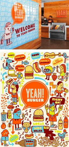 Tad Carpenter's new branding for Yeah! Burger is just plain fun. The Atlanta-based (and expanding) chain wanted a fresh approach to reflect their commitment to local and organic food, and that was certainly achieved with this playful, colorful and interactive brand. Here's hoping that they work their way up the East Coast as they expand! In the meantime, you can check out lots more images to see on Tad's Flickr.