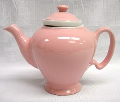 Vintage-Hall-Pottery-McCormick-Tea-Pink-Ceramic-Teapot-with-Diffuser