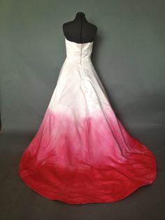 Strapless Silk Pink Ombre Wedding Prom Formal Dress
