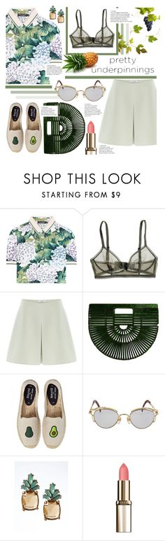 """Pretty Underpinnings"" by karolinapl ❤ liked on Polyvore featuring Dolce&Gabbana, Bodas, Valentino, Cult Gaia, Soludos, Jean-Paul Gaultier, Banana Republic and L'Oréal Paris"