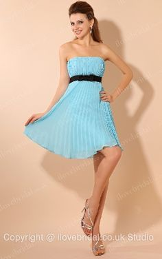 Siren Strapless Flat Wrinkled Blue A-line Cocktail Dress With