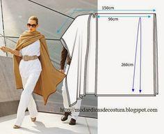 Moda e Dicas de Costura: CAPA/PONCHO FÁCIL DE CORTAR E CONFECCIONAR