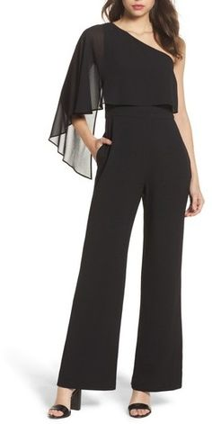 Vince Camuto Cape Overlay One-Shoulder Jumpsuit One Shoulder Jumpsuit, Vince Camuto, Overlays, Bodice, Cape, Nordstrom, Fashion, Romper Outfit, Outfits