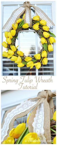 Spring Tulip Wreath Tutorial by U Create - create it in about 10 minutes!