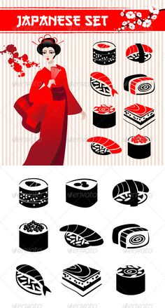 Japanese Set #GraphicRiver Japanese set: traditional food sushi, geisha, branch of sakura and collection of different sushi icons in monohrome version. Zip file contains fully editable EPS 8 vector file, AI CS vector file and high resolution pixels RGB Jpeg image. EPS file does not contain transparency, blends, meshes. No bitmaps, only vector used. This set can be used as design elements in printed materials (brochures, invitations, postcards), in web design, etc. The typography used is Gang…