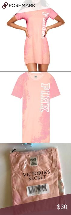 NEW PINK Victoria's Secret campus tunic tee dress Comfy and cute with an oversized fit and logo graphics, this tee dress features a crew neckline. In plastic bag, never open. PINK Victoria's Secret Dresses